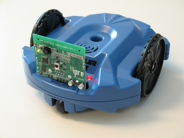 Photo of parallax scribbler robot with the IPRE dongle attached